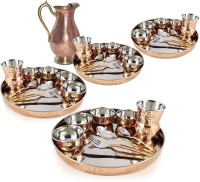 Dungri India Craft Set Of 4,Traditional Dinner Set (Dinner Plate, Cutlery, Bowls, And Glass) With Mughal Pitcher Jug Pack Of 41 Dinner Set (Copper)