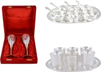 Silver Wilver 2 Queen Vine Glass Set, Manchurian Bowl Set And Juli Diamond Glass Set Pack Of 22 Dinner Set (Silver Plated)