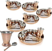 Dungri India Craft Set Of 6, Dinnerware Stainless Steel Copper Dinner Set (Dinner Plate, Cutlery, Bowls, And Glass) With Serving Balti Bucket Pack Of 62 Dinner Set (Copper)