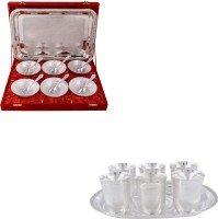 Silver Wilver 6 Mor Bowl And Juli Diamond Glass Set Pack Of 20 Dinner Set (Silver Plated)