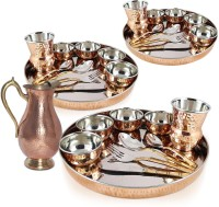 Dungri India Craft Dinner Set Of 3 - Thali Set (Dinner Plate, Cutlery, Bowls, And Glass) With Mughal Pitcher Jug Pack Of 31 Dinner Set (Copper)
