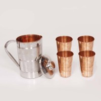 King Traders TULSI - Traditional Designer Copper Water Jug And Tumbler Glass Set Of 4pcs Dinner Set (Copper)