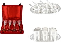 Silver Wilver 4 Queen Vine Glass, Manchurian Bowl And Amrapali Glass Set Pack Of 24 Dinner Set (Silver Plated)