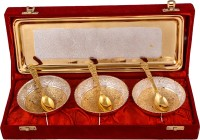 Jaipur Trade Silver & Gold Plated 3 Heavy Flower Bowl With Spoon With Tray Pack Of 7 Dinner Set (Silver Plated)