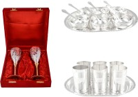 Silver Wilver 2 Queen Vine Glass Set, Manchurian Bowl Set And Amrapali Glass Set Pack Of 22 Dinner Set (Silver Plated)