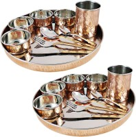 Dungri India Craft Dinnerware Set, Service For 2, Copper Stainless Steel Large Dinnerware Plate, Cutlery, Bowls, And Glass ( 2 Thaliset ) Pack Of 20 Dinner Set (Copper)