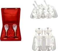 Silver Wilver 2 Queen Vine Glass Set, Manchurian Bowl Set And Juli Diamond Glass Set Pack Of 16 Dinner Set (Silver Plated)