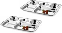 King Traders TULSI -Stainless Steel Five Compartment Dinner Plate/Mess Plate/Party Plate/Snack Plate/Gurudwara Plate-37 Cm Set Of 2 Pcs Dinner Set (Stainless Steel)