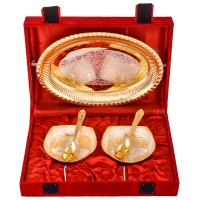 Jaipur Trade Silver & Gold Plated 2 Heavy Square Bowl With Spoon With Tray Pack Of 5 Dinner Set (Silver Plated)