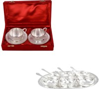 Silver Wilver 2 Cup And Manchurian Bowl Set With Spoons Pack Of 17 Dinner Set (Silver Plated)