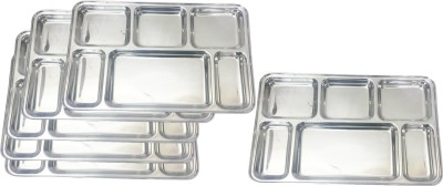 King Traders TULSI -Stainless Steel Six Compartment Dinner Plate/Mess Plate/Party Plate/Snack Plate/Gurudwara Plate-36.8 Cm Set Of 6pcs Dinner Set (Stainless Steel)