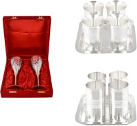 Silver Wilver 2 Queen Vine Glass Set, Juli Diamond Glass Set And Amrapali Glass Set Pack Of 12 Dinner Set (Silver Plated)