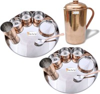 Prisha India Craft Indian Traditional Dinnerware Stainless Steel Copperware Thali ,Set Of 2 - Diameter 13 Inch - Diwali Gift Pack Of 15 Dinner Set (Copper)