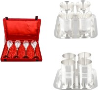 Silver Wilver 4 Prince Vine Glass, Juli Diamond Glass And Amrapali Glass Set Pack Of 14 Dinner Set (Silver Plated)
