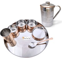 Prisha India Craft Indian Traditional Dinnerware Stainless Steel Copperware Thali Set - Diameter 13 Inch Pack Of 8 Dinner Set (Copper)