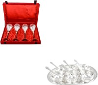 Silver Wilver 4 Prince Vine Glass And Manchurian Bowl Set Pack Of 17 Dinner Set (Silver Plated)