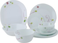 Corelle India Collection Royal Sequins Dinner Set 21-RQ (Glass, White, Green)