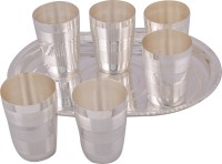 Jaipur Trade Silver Plated 6 Long Glass With Tray Pack Of 7 Dinner Set (Silver Plated)