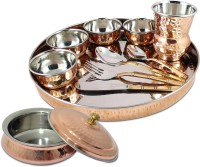 Dungri India Craft Stainless Steel Thali Set (Dinner Plate, Cutlery, Bowls, And Glass) With Serving Bowl Tureen Pack Of 11 Dinner Set (Copper)