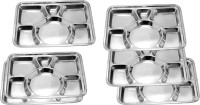 King Traders TULSI -Stainless Steel Six Compartment Dinner Plate/Mess Plate/Party Plate/Snack Plate/Gurudwara Plate-39.5 Cm Set Of 6 Pcs Dinner Set (Stainless Steel)