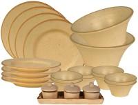 Craftghar Mellow Cream & Caramel Pack Of 19 Dinner Set (Ceramic)
