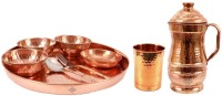 Indian Art Villa Pure Copper 9 Piece Dinner Set (1 Thali, 3 Bowl, 1 Rice Plate, 1 Fork, 1 Spoon, 1 Glass, 1 Mughali Hammer Jug) Pack Of 9 Dinner Set (Copper)