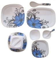 Czar Dine Smart Aarkay 40 Pcs Square Round Dinner Set- Dafodil Design (Melamine, White, Blue)