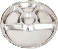 King Traders TULSI -Stainless Steel Five Compartment Dinner Plate/Mess Plate/Party Plate/Snack Plate/Gurudwara Plate-32.8 Cm Dinner Set (Stainless Steel)