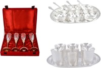 Silver Wilver 4 Queen Vine Glass, Manchurian Bowl And Juli Diamond Glass Set Pack Of 24 Dinner Set (Silver Plated)