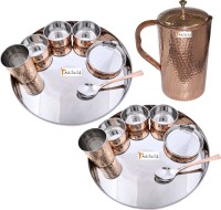 Prisha India Craft Indian Traditional Dinnerware Stainless Steel Copperware Thali ,Set Of 2 - Diameter 13 Inch - Diwali Gift Pack Of 15 Dinner Set (Copper) - DNSEG7TR5HFARKND