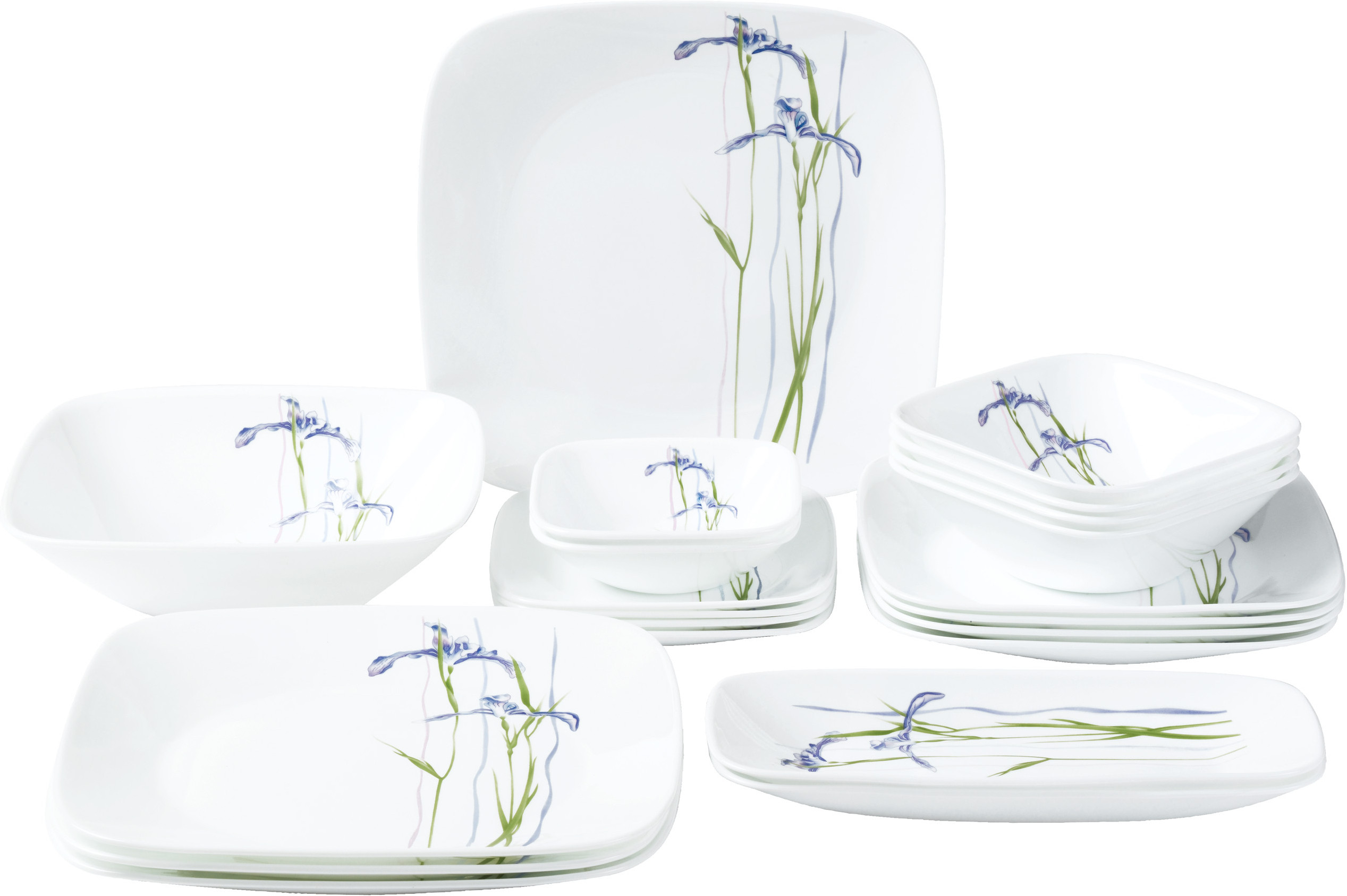 Corelle Square Round Shadow Iris Pack Of 21 Dinner Set Price In India Buy C