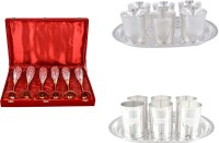 Silver Wilver 6 Queen Vine Glass, Juli Diamond Glass And Amrapali Glass Set Pack Of 20 Dinner Set (Silver Plated)