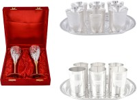 Silver Wilver 2 Queen Vine Glass Set, Juli Diamond Glass Set And Amrapali Glass Set Pack Of 14 Dinner Set (Silver Plated)