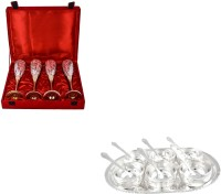 Silver Wilver 4 Queen Vine Glass And Manchurian Bowl Set Pack Of 17 Dinner Set (Silver Plated)