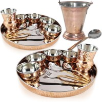 Dungri India Craft Stainless Steel Copper Traditional Dinner Set Of 2 (Dinner Plate, Cutlery, Bowls, And Glass) With Serving Balti Bucket Pack Of 24 Dinner Set (Copper)