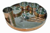 Copperware Dinner Set 4 Bowl 1 Glasses 2 Spoon 1 Fork Pack Of 9 Dinner Set (Copper)