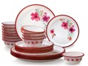 Nayasa Round Pink 24 Pcs Dinner Set - Polypropylene, White, Red