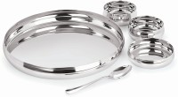 Alaisha Solitare Thali Set Pack Of 5 Dinner Set (Stainless Steel)