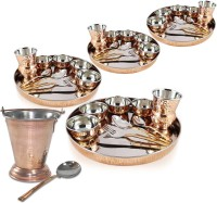 Dungri India Craft Dinnerware Stainless Steel Copper Traditional Dinner Set Of 4 - (Dinner Plate, Cutlery, Bowls, And Glass) With Serving Balti Bucket Pack Of 48 Dinner Set (Copper)