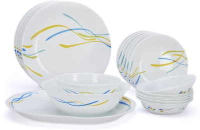 Corelle India Impressions Waves 21 Pcs Dinner Set 21-WAV-NDS - Glass, White, Blue, Yellow