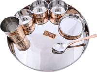 Dakshcraft Large Dinnerware Stainless Steel Copperware Platter Pack Of 7 Dinner Set (Copper)