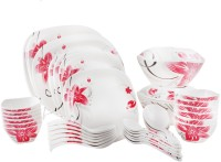 WHITE GOLD Blossom Pink Pack Of 44 Dinner Set (Melamine)