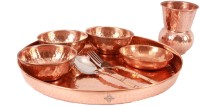 Indian Art Villa Pure Copper 8 Piece Dinner Set (1 Thali, 3 Bowl, 1 Rice Plate, 1 Fork, 1 Spoon, 1 Glass) Pack Of 8 Dinner Set (Copper)