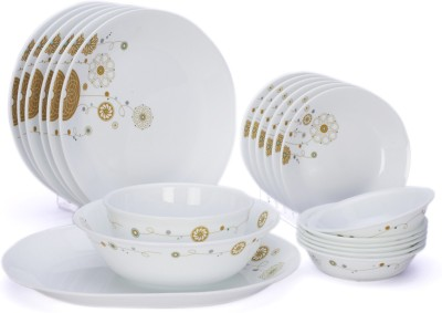Corelle India Collection Elite 21 Pcs Dinner Set 21-EL-NDS - Glass, White, Beige