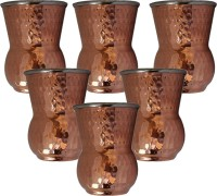 King Traders TULSI - Double Metal Walled Round Bottom Copper Glass/ Outside Copper Inside Steel- Set Of 6 Dinner Set (Copper)