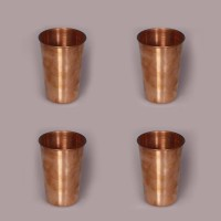 King Traders TULSI - Traditional Designer Tumbler Shaped Copper Glass - Set Of 4 Dinner Set (Copper)