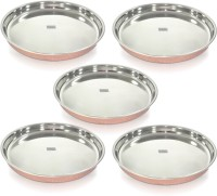Dungri India Craft Indian Dinnerware Stainless Steel Copperware Thali ,Set Of 5 - Diameter 12 Inch Pack Of 5 Dinner Set (Copper)