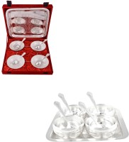 Silver Wilver 4 Mor Bowl And Manchurian Bowl Set With Spoons Pack Of 18 Dinner Set (Silver Plated)