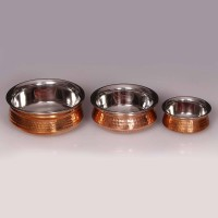 King Traders TULSI - Traditional Designer Doubled Metal Walled Handcrafted Copper Serving Pot/ Handi/ Serving Vessel - Set Of 3 Pcs (small, Medium And Large) 17.5 Cm, 15 Cm And 13 Cm Dinner Set (Copper)