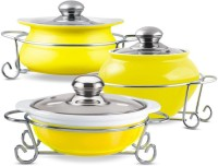 Treo Party Perfect 3 Pcs Set Of 1 Ltr Casseroles - Yellow Pack Of 3 Dinner Set (Ceramic)